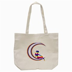 Rainbow Fairy Relaxing On The Rainbow Crescent Moon Tote Bag (cream)
