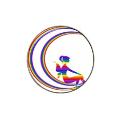 Rainbow Fairy Relaxing On The Rainbow Crescent Moon Hat Clip Ball Marker