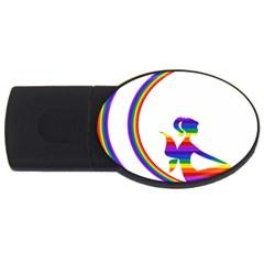 Rainbow Fairy Relaxing On The Rainbow Crescent Moon Usb Flash Drive Oval (4 Gb)