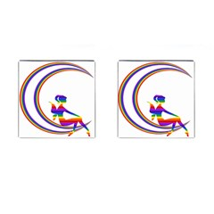 Rainbow Fairy Relaxing On The Rainbow Crescent Moon Cufflinks (square)
