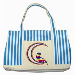 Rainbow Fairy Relaxing On The Rainbow Crescent Moon Striped Blue Tote Bag