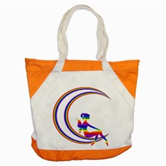 Rainbow Fairy Relaxing On The Rainbow Crescent Moon Accent Tote Bag