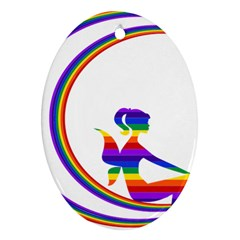 Rainbow Fairy Relaxing On The Rainbow Crescent Moon Oval Ornament (two Sides)
