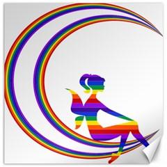 Rainbow Fairy Relaxing On The Rainbow Crescent Moon Canvas 12  X 12