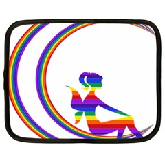 Rainbow Fairy Relaxing On The Rainbow Crescent Moon Netbook Case (xl)