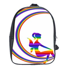 Rainbow Fairy Relaxing On The Rainbow Crescent Moon School Bags(Large)