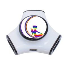 Rainbow Fairy Relaxing On The Rainbow Crescent Moon 3-Port USB Hub