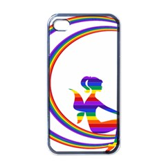 Rainbow Fairy Relaxing On The Rainbow Crescent Moon Apple Iphone 4 Case (black)