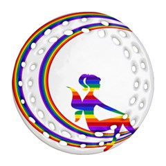 Rainbow Fairy Relaxing On The Rainbow Crescent Moon Ornament (round Filigree)