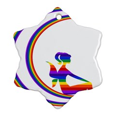 Rainbow Fairy Relaxing On The Rainbow Crescent Moon Snowflake Ornament (Two Sides)
