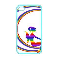 Rainbow Fairy Relaxing On The Rainbow Crescent Moon Apple iPhone 4 Case (Color)