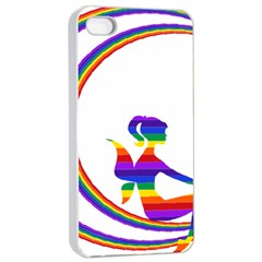 Rainbow Fairy Relaxing On The Rainbow Crescent Moon Apple Iphone 4/4s Seamless Case (white)