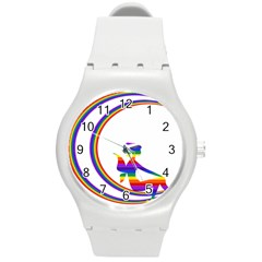 Rainbow Fairy Relaxing On The Rainbow Crescent Moon Round Plastic Sport Watch (m)