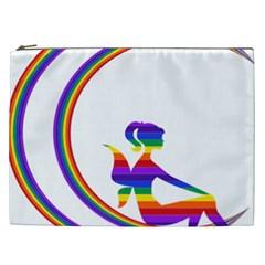 Rainbow Fairy Relaxing On The Rainbow Crescent Moon Cosmetic Bag (xxl)