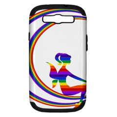 Rainbow Fairy Relaxing On The Rainbow Crescent Moon Samsung Galaxy S Iii Hardshell Case (pc+silicone)