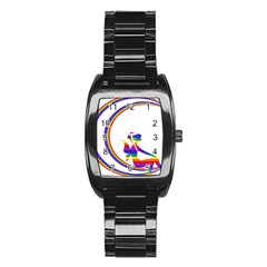 Rainbow Fairy Relaxing On The Rainbow Crescent Moon Stainless Steel Barrel Watch