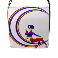 Rainbow Fairy Relaxing On The Rainbow Crescent Moon Flap Messenger Bag (l)