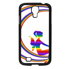 Rainbow Fairy Relaxing On The Rainbow Crescent Moon Samsung Galaxy S4 I9500/ I9505 Case (black)