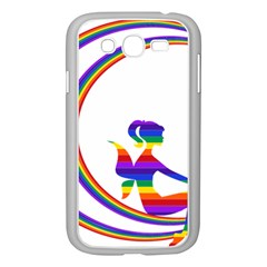 Rainbow Fairy Relaxing On The Rainbow Crescent Moon Samsung Galaxy Grand Duos I9082 Case (white)