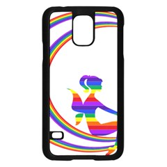 Rainbow Fairy Relaxing On The Rainbow Crescent Moon Samsung Galaxy S5 Case (black)