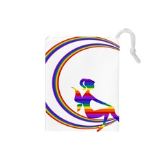 Rainbow Fairy Relaxing On The Rainbow Crescent Moon Drawstring Pouches (small)