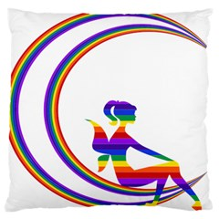 Rainbow Fairy Relaxing On The Rainbow Crescent Moon Standard Flano Cushion Case (one Side)