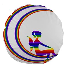 Rainbow Fairy Relaxing On The Rainbow Crescent Moon Large 18  Premium Flano Round Cushions