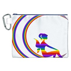 Rainbow Fairy Relaxing On The Rainbow Crescent Moon Canvas Cosmetic Bag (xxl)