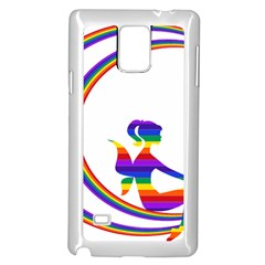 Rainbow Fairy Relaxing On The Rainbow Crescent Moon Samsung Galaxy Note 4 Case (white)
