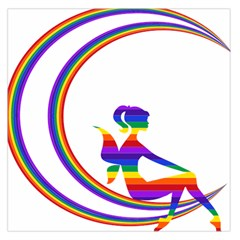 Rainbow Fairy Relaxing On The Rainbow Crescent Moon Large Satin Scarf (square)
