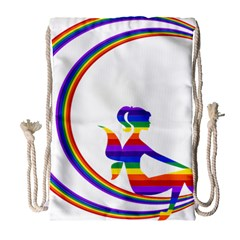Rainbow Fairy Relaxing On The Rainbow Crescent Moon Drawstring Bag (large)