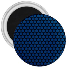 Blue Dark Navy Cobalt Royal Tardis Honeycomb Hexagon 3  Magnets