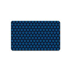 Blue Dark Navy Cobalt Royal Tardis Honeycomb Hexagon Magnet (name Card)