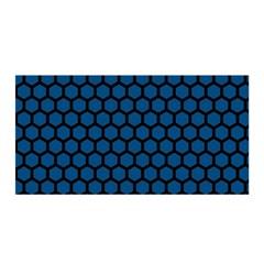Blue Dark Navy Cobalt Royal Tardis Honeycomb Hexagon Satin Wrap
