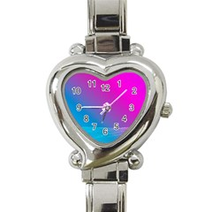 With Wireframe Terrain Modeling Fabric Wave Chevron Waves Pink Blue Heart Italian Charm Watch