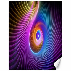 Abstract Fractal Bright Hole Wave Chevron Gold Purple Blue Green Canvas 12  x 16