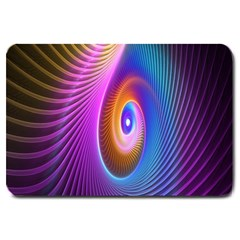 Abstract Fractal Bright Hole Wave Chevron Gold Purple Blue Green Large Doormat