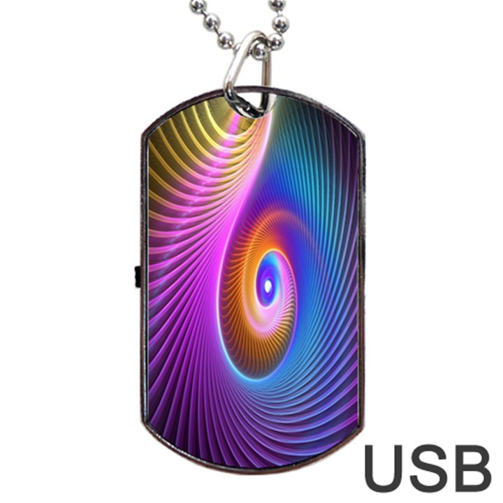 Abstract Fractal Bright Hole Wave Chevron Gold Purple Blue Green Dog Tag USB Flash (One Side)