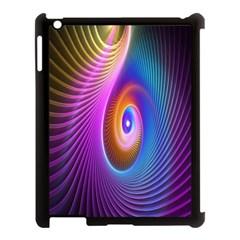 Abstract Fractal Bright Hole Wave Chevron Gold Purple Blue Green Apple Ipad 3/4 Case (black)