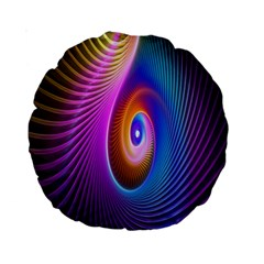 Abstract Fractal Bright Hole Wave Chevron Gold Purple Blue Green Standard 15  Premium Round Cushions