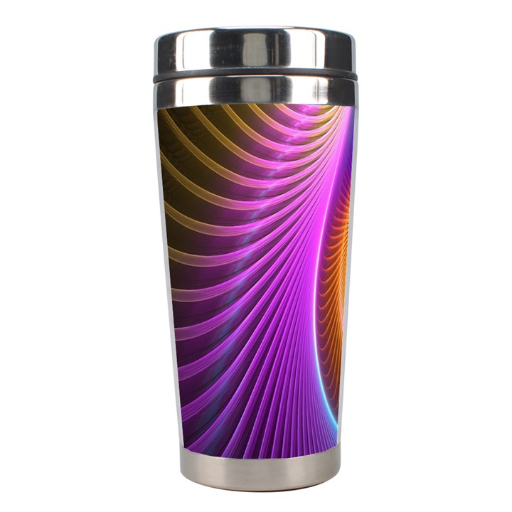 Abstract Fractal Bright Hole Wave Chevron Gold Purple Blue Green Stainless Steel Travel Tumblers