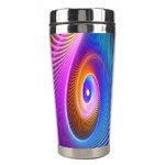 Abstract Fractal Bright Hole Wave Chevron Gold Purple Blue Green Stainless Steel Travel Tumblers Center