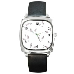 Bunny Line Rabbit Face Animals White Pink Square Metal Watch