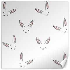 Bunny Line Rabbit Face Animals White Pink Canvas 20  x 20