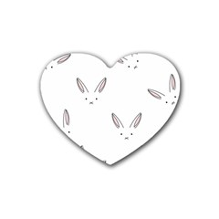 Bunny Line Rabbit Face Animals White Pink Rubber Coaster (heart)