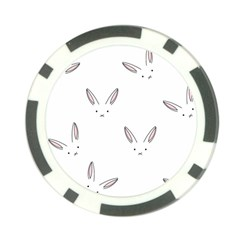 Bunny Line Rabbit Face Animals White Pink Poker Chip Card Guard (10 pack)