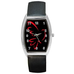 Dove Red Black Fly Animals Bird Barrel Style Metal Watch