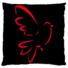 Dove Red Black Fly Animals Bird Large Flano Cushion Case (two Sides)