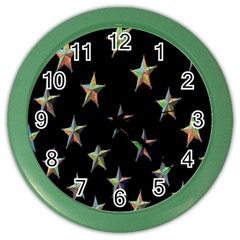 Colorful Gold Star Christmas Color Wall Clocks