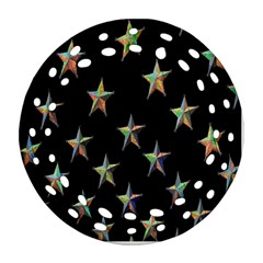 Colorful Gold Star Christmas Ornament (Round Filigree)